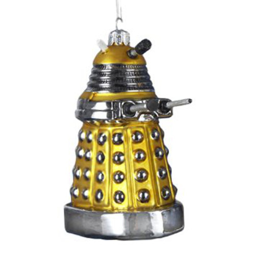 Yellow DalekDLEK Christmas Glass Ornament