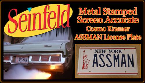 """License Plate - SEINFELD - """"ASSMAN"""""""