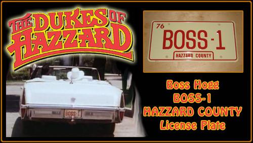 """License Plate - The DUKES of HAZARD - """"BOSS-1"""""""