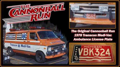 "License Plate - The CANNONBALL RUN- ""VBK324"""