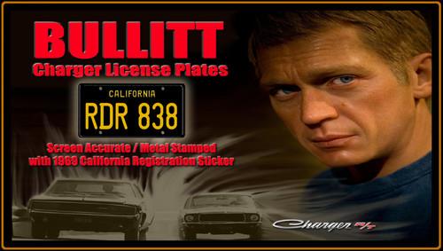 """License Plate - BULLITT - """"RDR 838"""""""