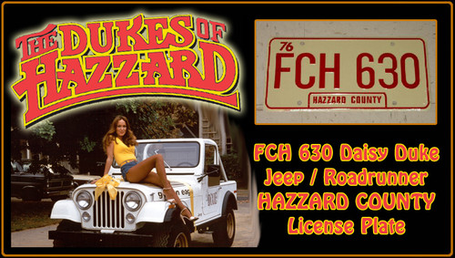 "License Plate - The DUKES of HAZZARD - ""FCH 630"""