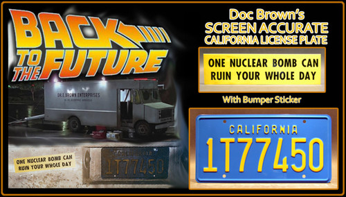 """License Plate - BACK to the FUTURE - """"1T77450"""" (Doc Brown)"""