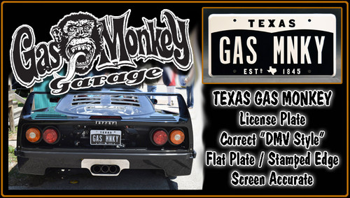 "License Plate - GAS MONKEY GARAGE - ""GAS MNKY"""