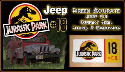License Plate - JURASSIC PARK - Jeep 18