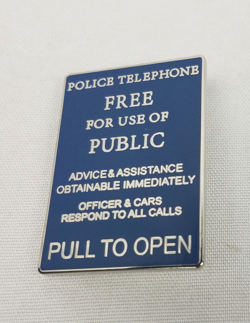 """Pull to Open"" Police Box Signage Enamel Pin"