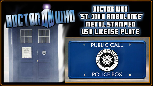 "License Plate - DOCTOR WHO - ""ST. JOHN'S AMBULANCE"" TARDIS Emblem"