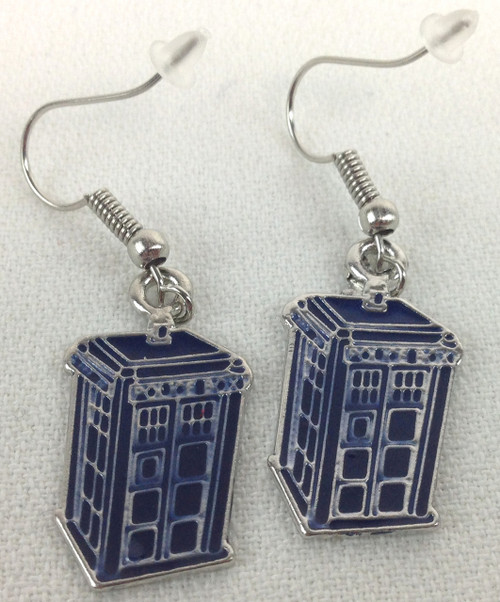 Tardis Metal Dangle Earrings