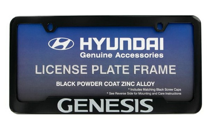 Hyundai Genesis Black Coated License Plate Frame