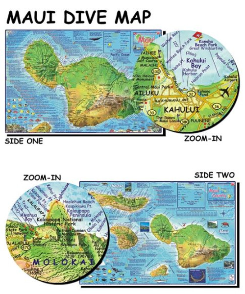 Waterproof Dive Site Map - Maui Hawaii