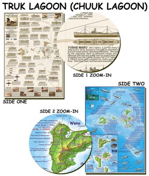Waterproof Dive Site & Wreck Map - Truk Chuuk Lagoon