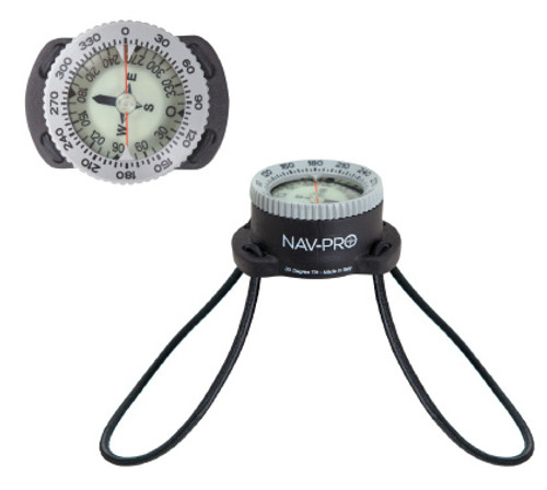 Underwater compass with bungee straps