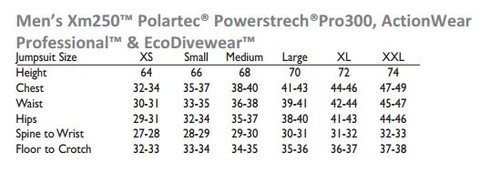 DUI DuoTherm Pullover - Size Chart