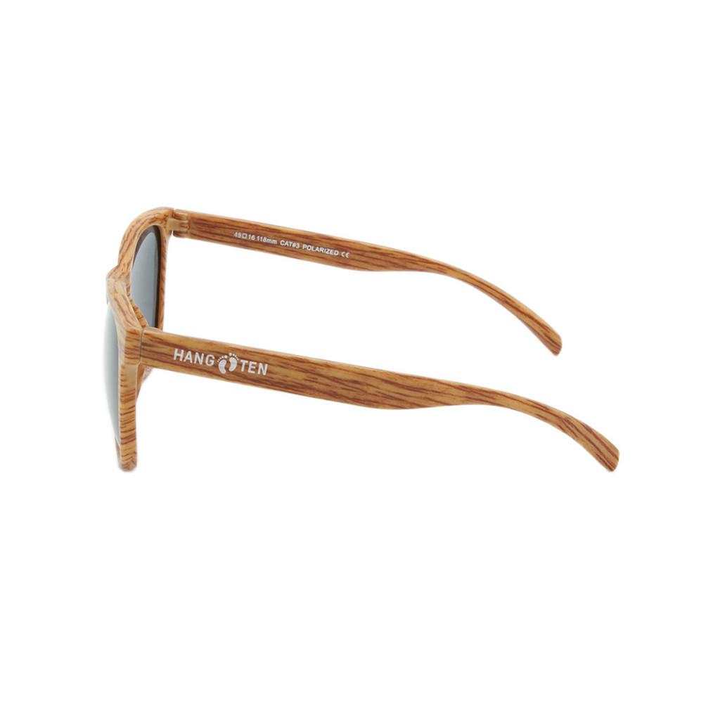 Hangten Kids Sunglasses Wayfer Smoke Polarized Lens Wood Look Frame Wood Look Temple Shark Eyes HTK09CPOL A-S