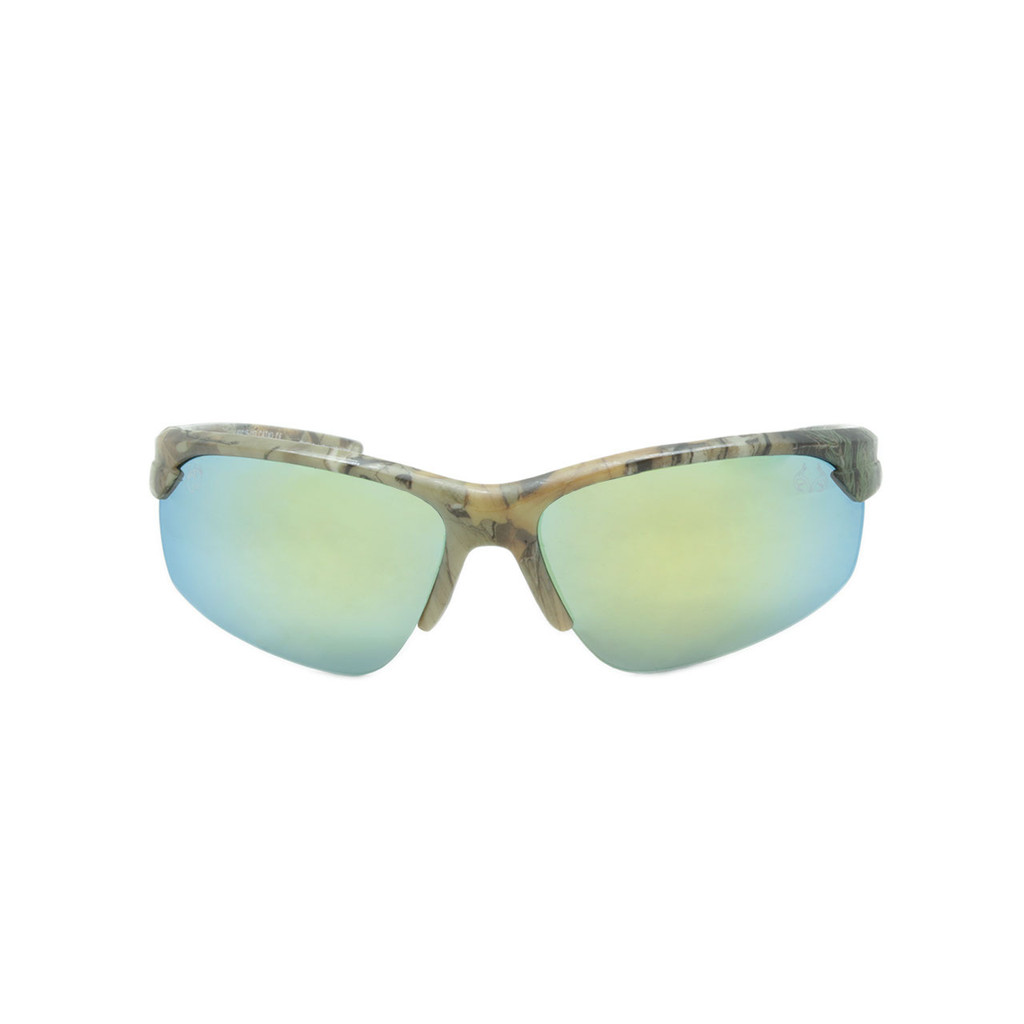 HangTen Kids RealTree Sunglasses Yellow Mirror Lens Camo Frame Camo Temple Shark Eyes HTK12BRTWC A-F