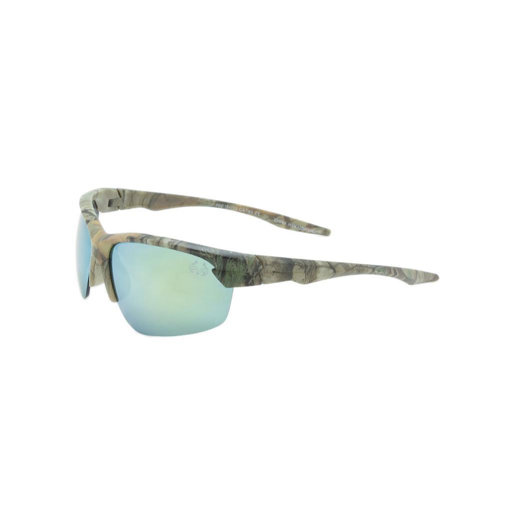HangTen Kids RealTree Sunglasses Yellow Mirror Lens Camo Frame Camo Temple Shark Eyes HTK12BRTWC A