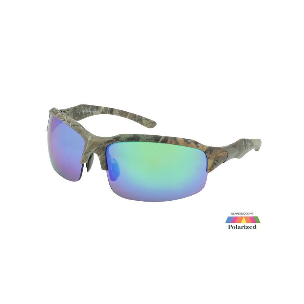 Sport Sunglasses RealTree Camo Frame Green Polarized Faux Revo Lens Gunmetal Temple RXS07RTPOL