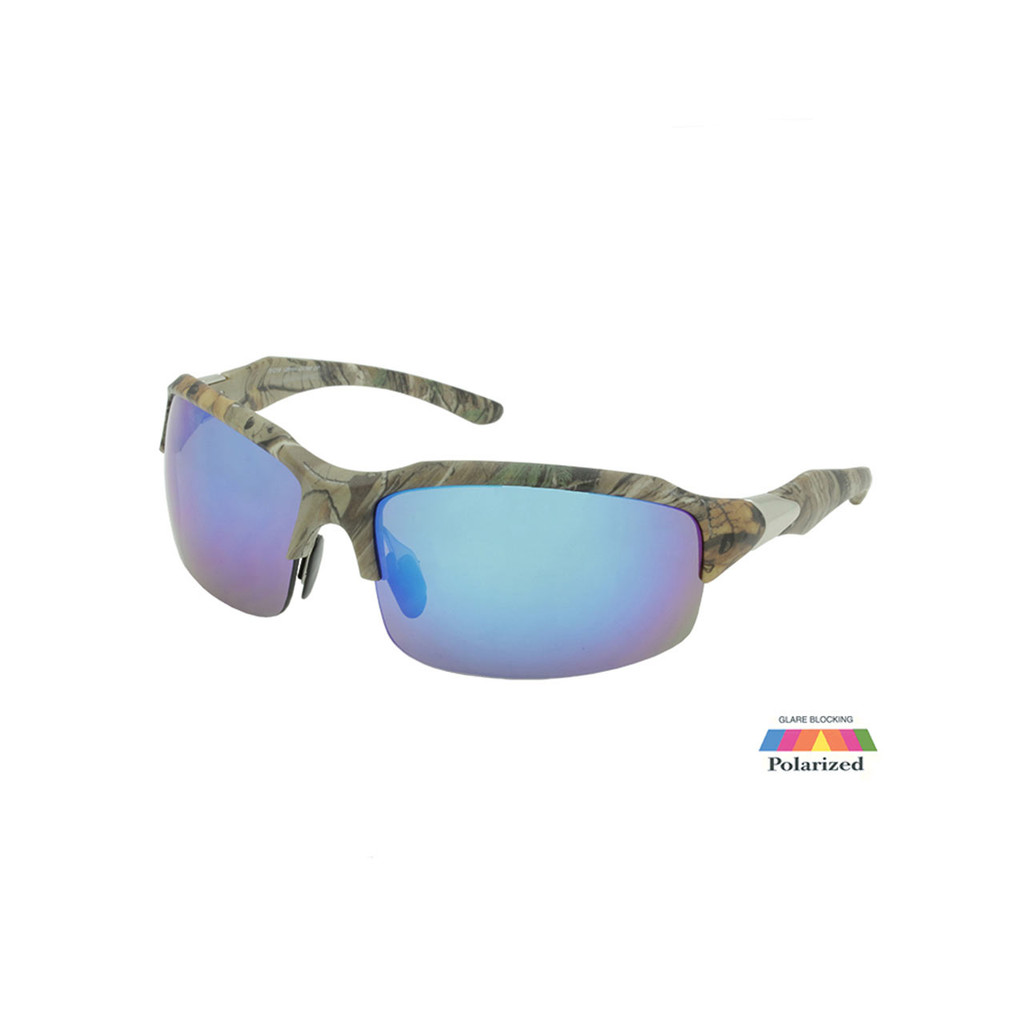 Sport Sunglasses RealTree Camo Frame Blue Polarized Faux Revo Lens Silver Metal Temple- RXS07RTPOL