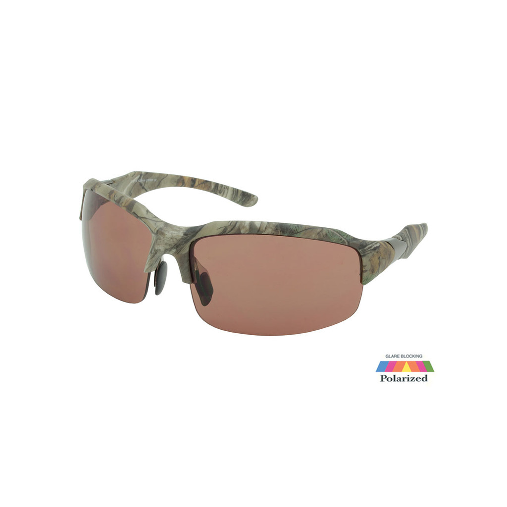 Sport Sunglasses RealTree Camo Frame Copper Polarized Lens Gunmetal Temple RXS07RTPOL