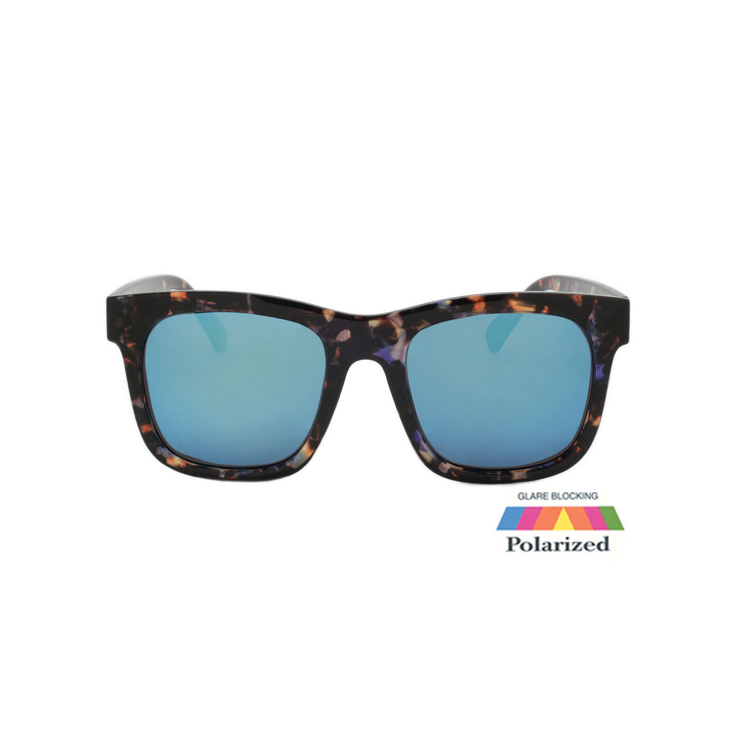 Unisex Coldwater Logo Sunglasses Blue Mirror Polarize Lens Tortoise Frame Tortoise Temple Shark Eyes CWS1 A-F