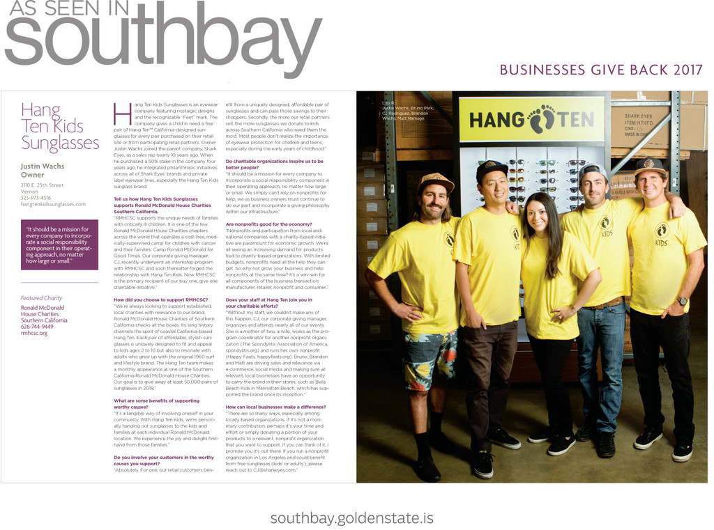 Hang Ten Kids Featured in South Bay Magazine