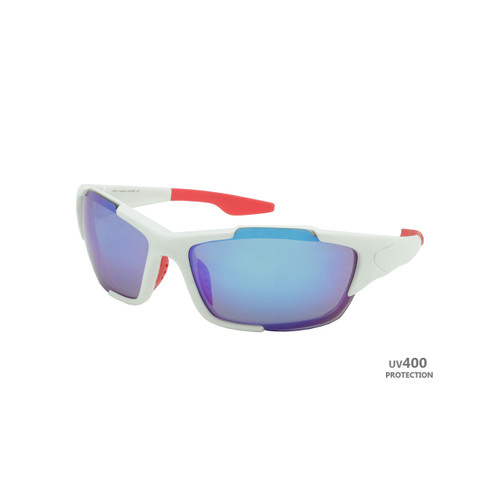 Sport Sunglasses Polished White Frame Blue Revo Lens Red Rubber Tips RXS05