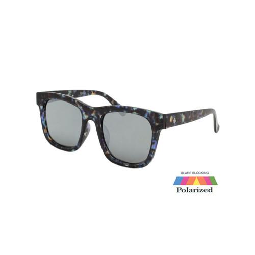 Unisex Coldwater Logo Sunglasses Smoke Silver Mirror Polarize Lens Tortoise Frame Tortoise Temple Shark Eyes CWS1 B