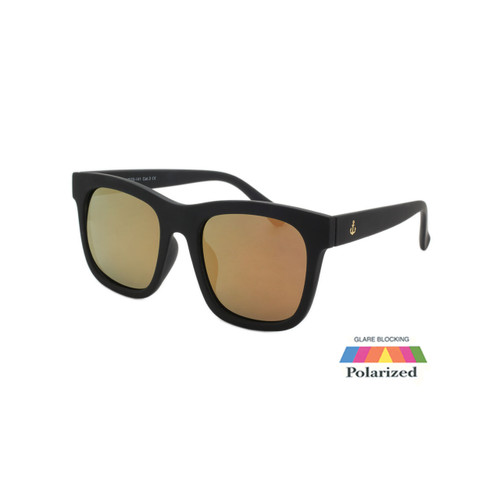 Unisex Coldwater Logo Sunglasses Pink Mirror Polarize Lens Black Soft Touch Frame Black Soft Touch Temple Shark Eyes CWS1 D