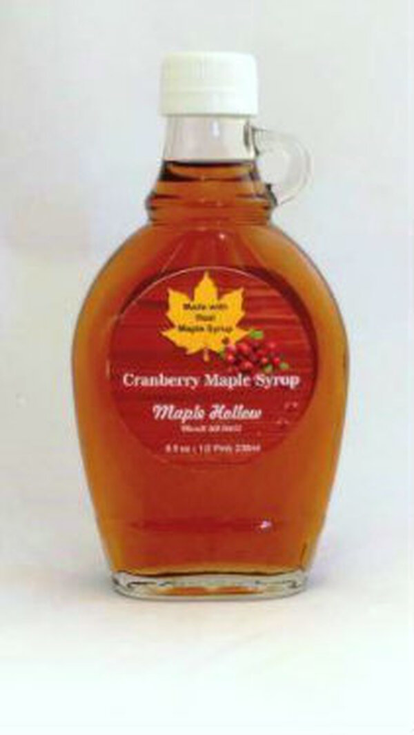 Cranberry Maple Syrup - 8 oz  glass jug