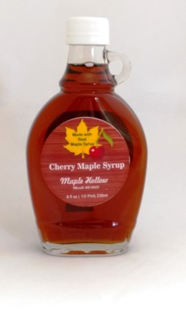 Cherry Maple Syrup - 8 oz glass jug.   CASE OF 12.