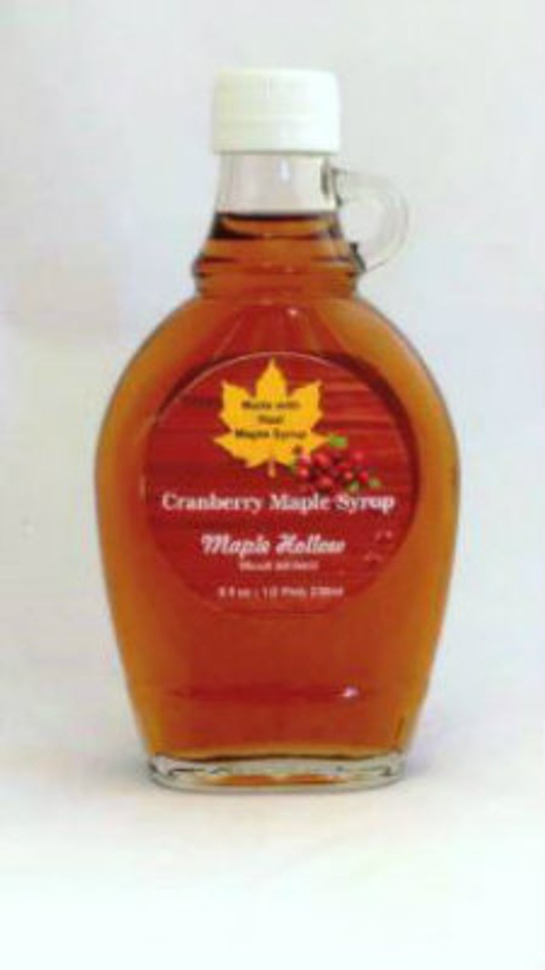 Cranberry Maple Syrup - 8 oz. glass jug. CASE OF 12.
