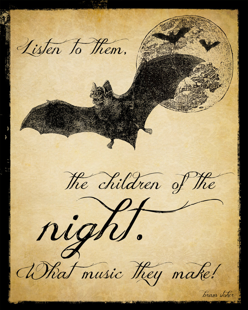 Children of the Night Dracula Literary Quote. Vintage Style Fine Art Print For Classroom, Library, Home or Dorm