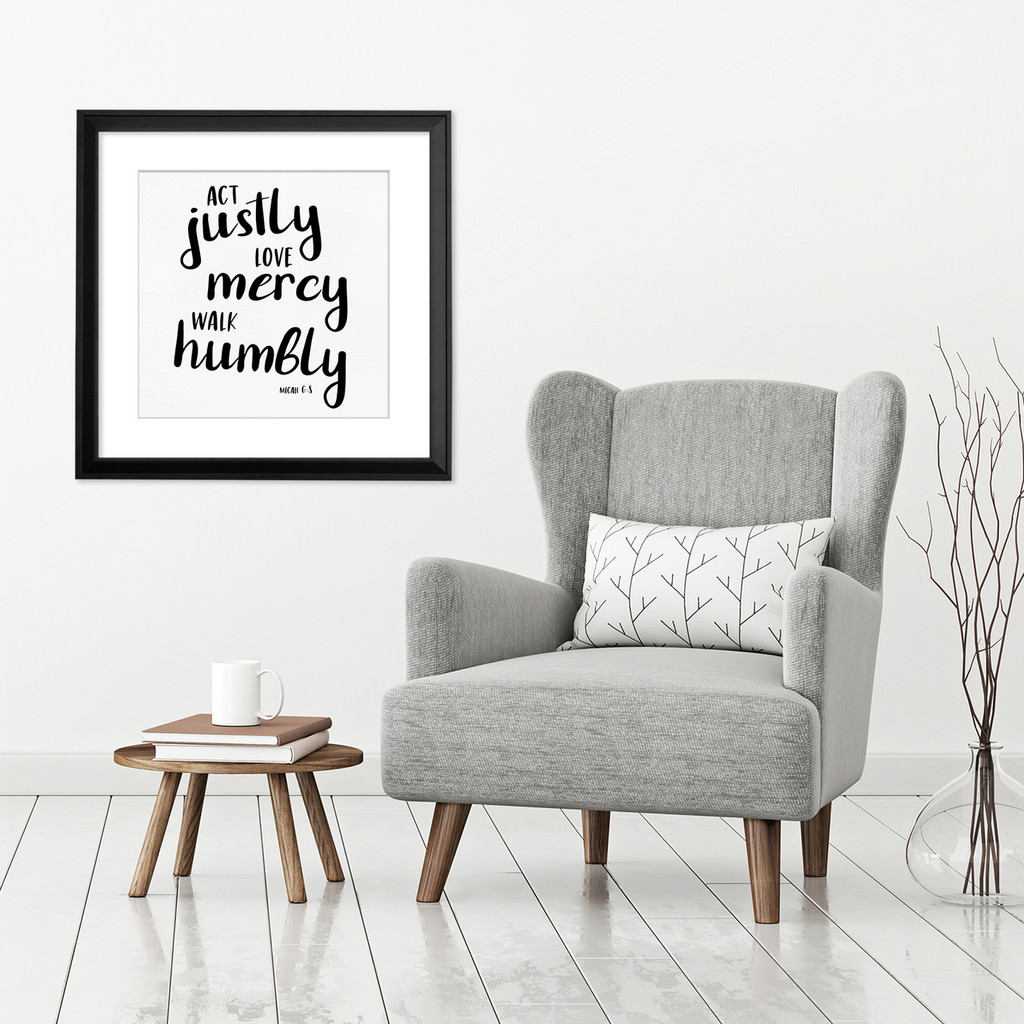 Act Justly - Spiritual Art Print Verse For Dorm, Nursery, or Home.