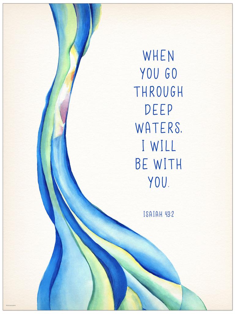 Deep Waters - Spiritual Art Print Verse for Dorm, Nursery, or Bedroom.