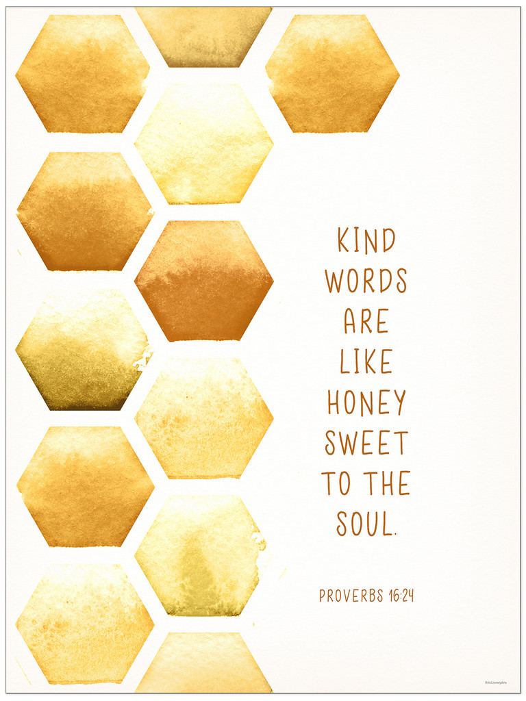 Kind Words - Spiritual Fine Art Print Verse for Dorm, Nursery, or Bedroom.