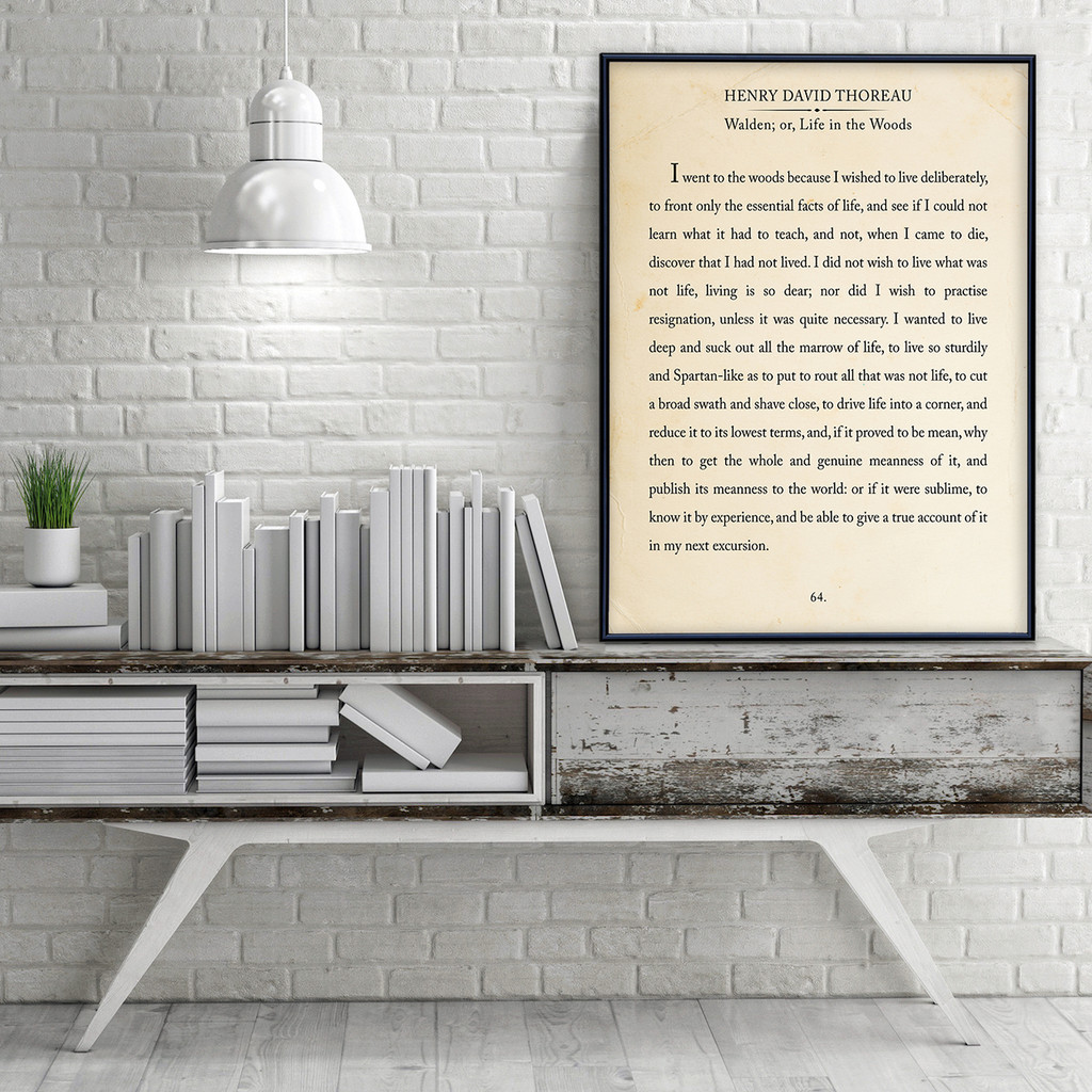 Thoreau Quote Fine Art Print Book Page Style Print for Home, School or Office