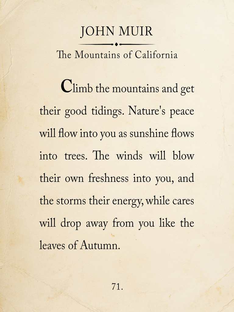 John Muir Mountain Quote Fine Art Print Book Page Style Print for Home, School or Office