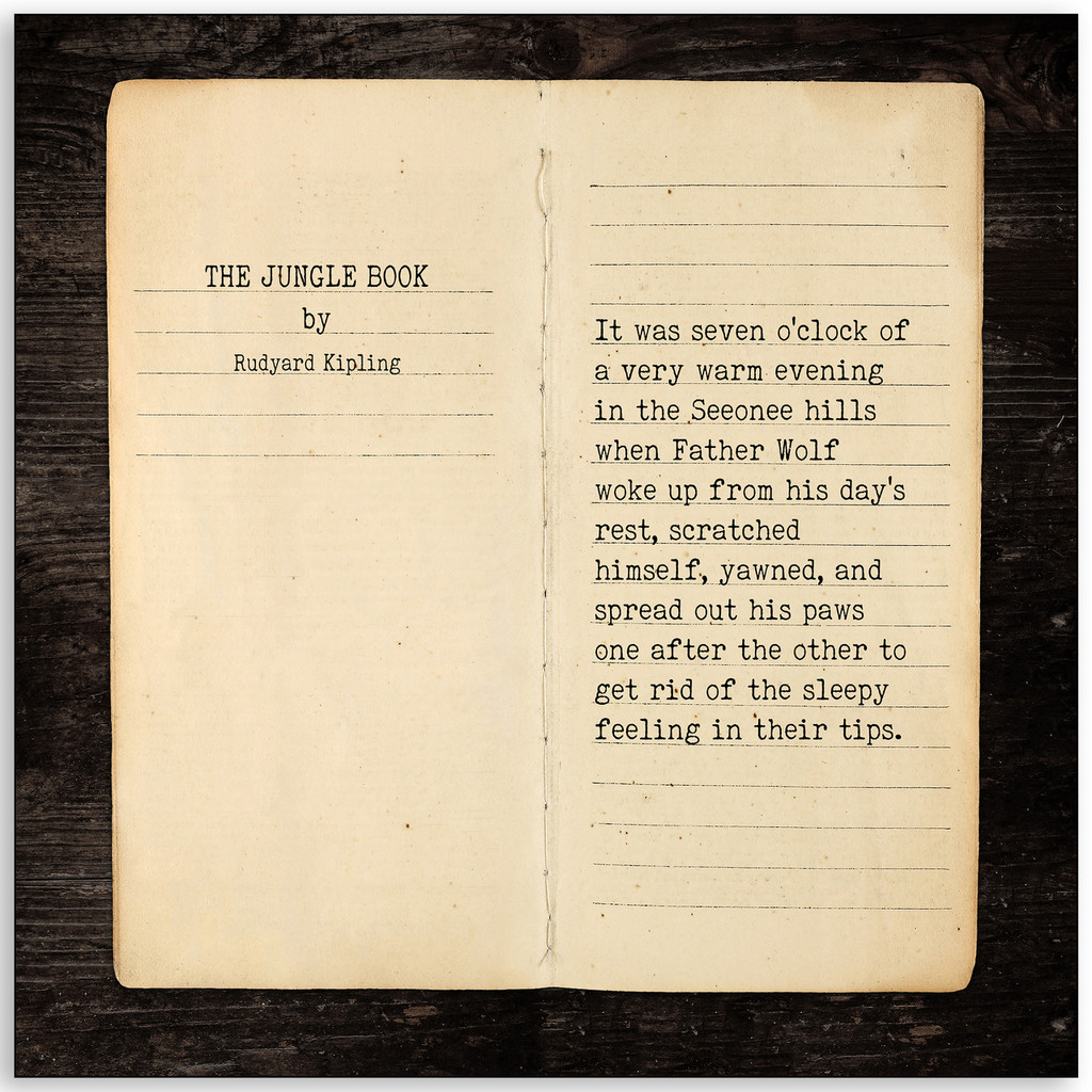 The Jungle Book - Rudyard Kipling, Opening Line Children's Literature Fine Art Print for Nursery, Playroom, Classroom, or Home