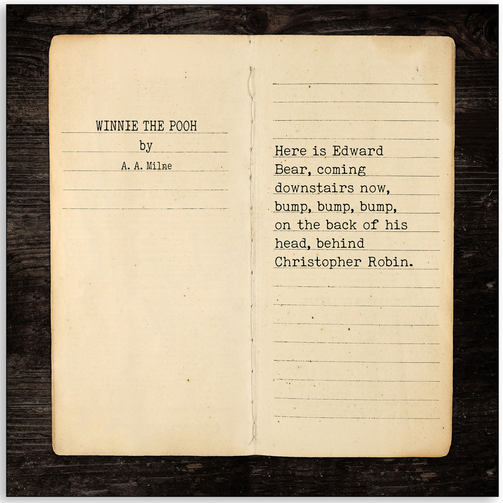 Winnie the Pooh - A.A. Milne, Opening Line Children's Literature Fine Art Print for Nursery, Playroom, Classroom, or Home