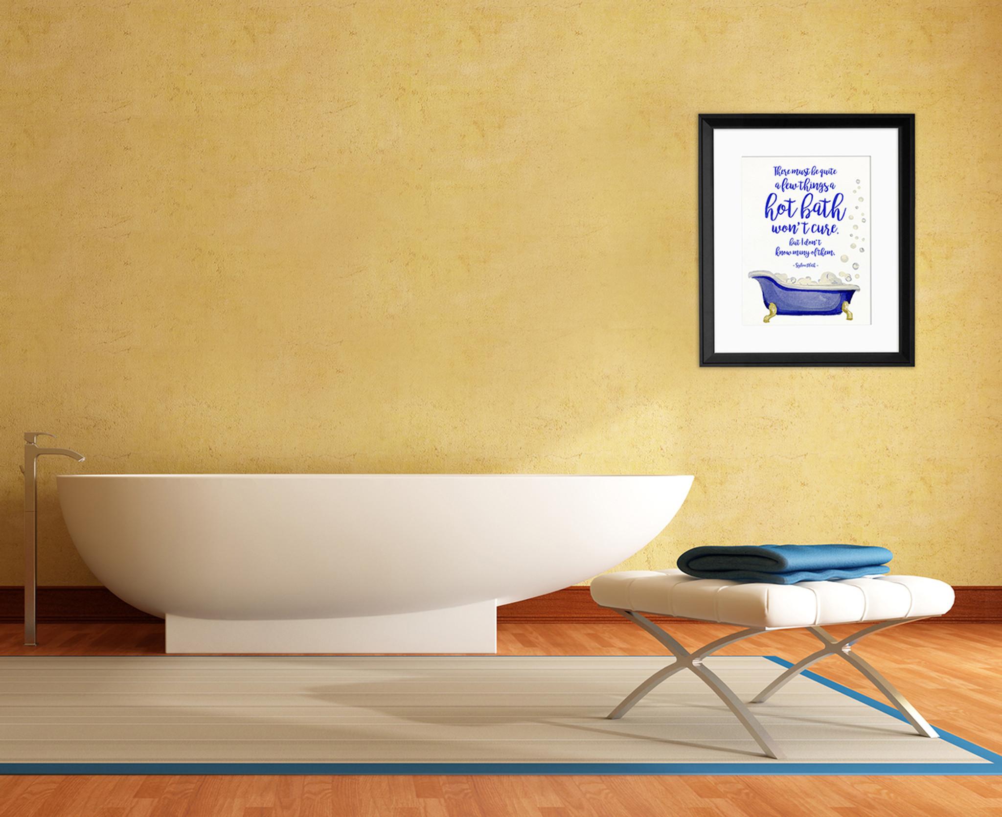 Hot Bath Literary Quote. Watercolor Sylvia Plath Fine Art Print For ...