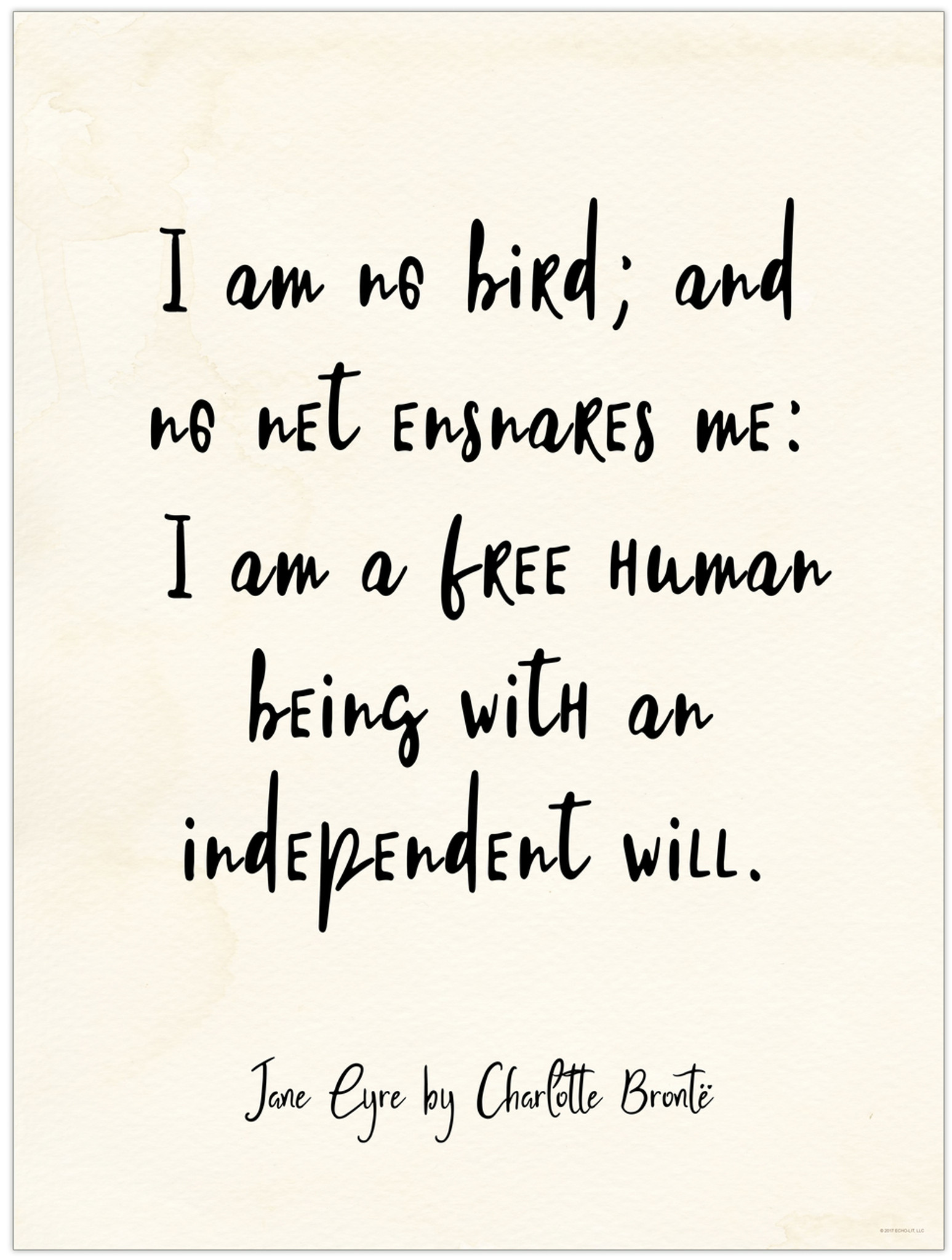Quotes Jane Eyre Independent Will  Jane Eyre Charlotte Bronte Quote Poster For