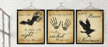 The Raven, Dracula and Macbeth Literary Quote Set. Vintage Style Fine Art Prints For Classroom, Library, Home or Dorm. Edgar Allan Poe, Bram Stoker and William Shakespeare
