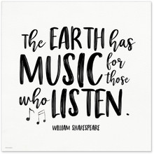 The Earth Has Music Shakespeare Quote  Art Print. Musical Literary Inspirational Print For Home or Office