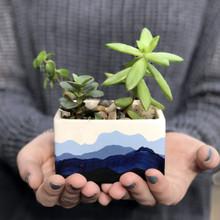 Mountain Range Hand Painted Succulent Planter