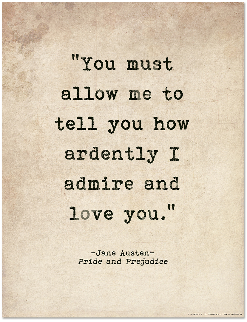 Quotes Jane Austen Romantic Quote Poster  Pride And Prejudicejane Austen