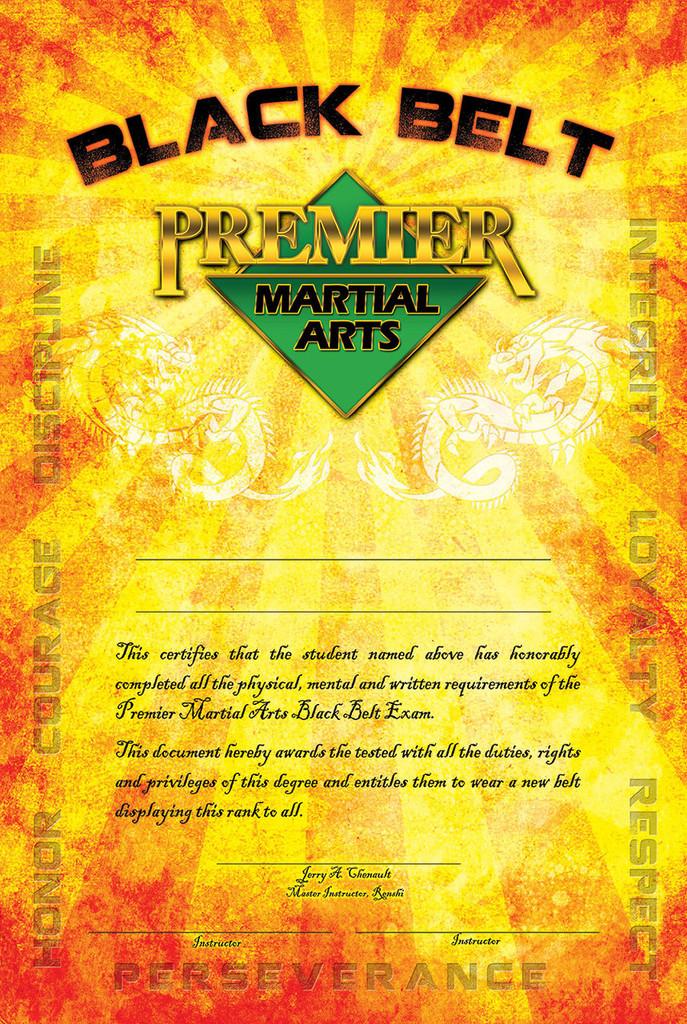 PMA Black Belt Certificates
