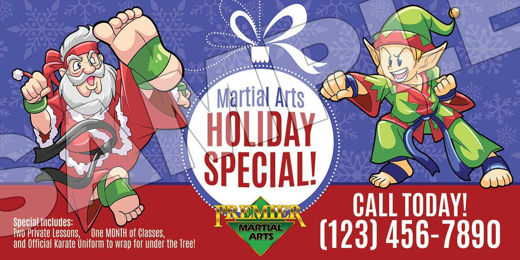 **NEW!! Santa & Elf Martial Arts for the Holidays Vinyl Banner