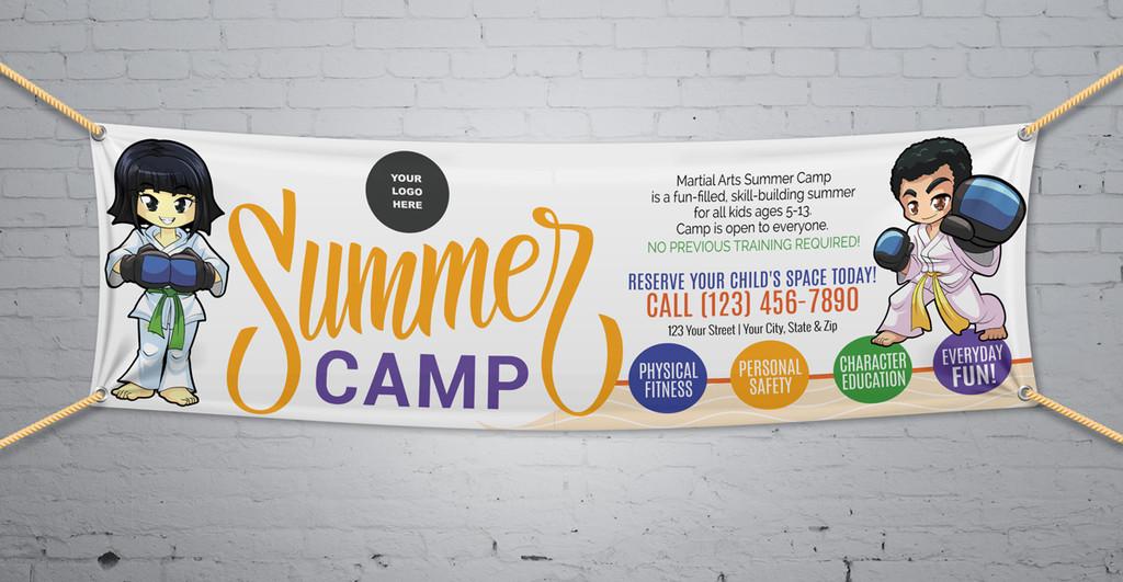 **NEW!! Martial Arts Summer Camp V1 Vinyl Banner