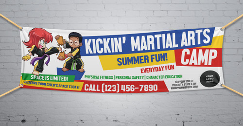 **NEW!! Kickin' Martial Arts Camp V1 Vinyl Banner