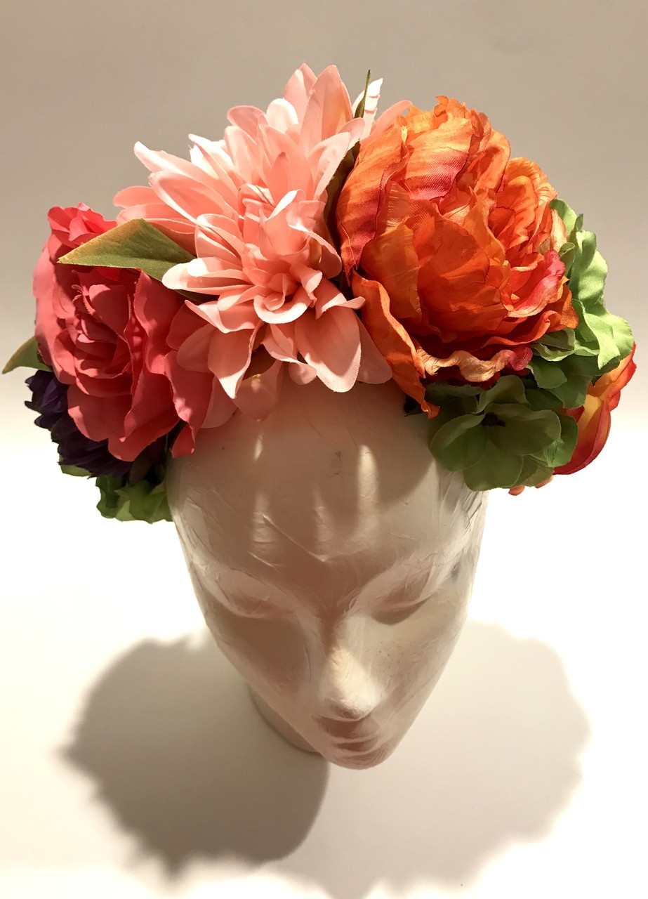 Orange pink womens frida kahlo flower crown mexican wedding my orange pink womens frida kahlo flower crown mexican wedding mightylinksfo